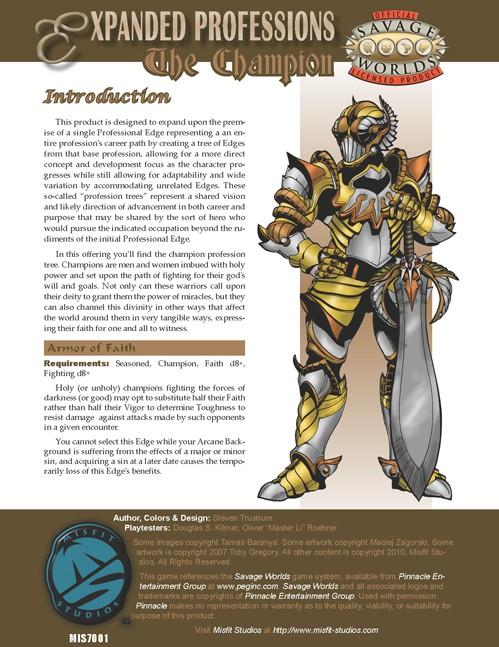 Expanded Professions: Champion Cover