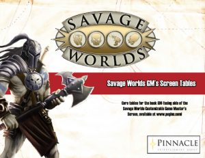 Savage Worlds Deluxe GM Screen Inserts