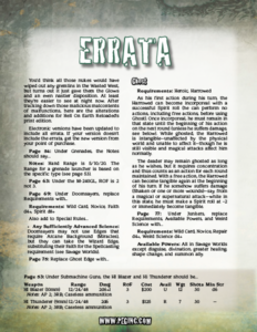 Hell on Earth Reloaded Errata