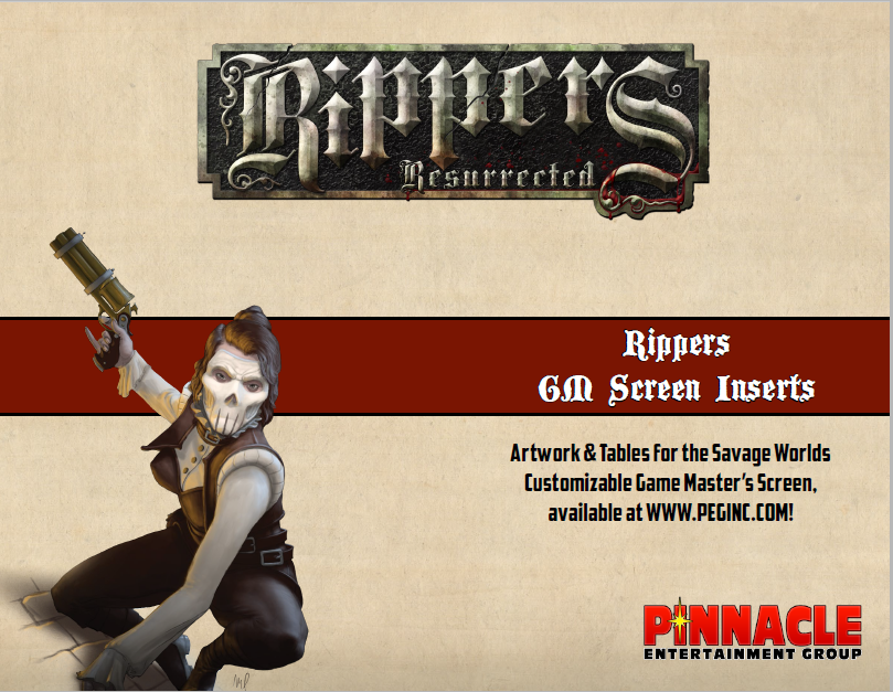 Rippers Resurrected GM Screen Inserts (PDF)