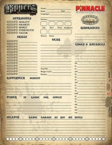 Rippers Resurrected Character Sheet