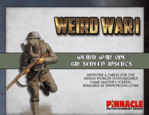 Weird War I GM Screen Inserts PDF