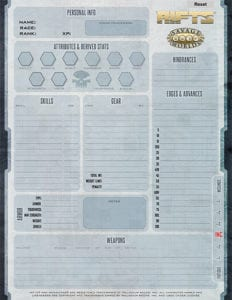 Savage RIFTS® Form-Fillable Character Sheet PDF