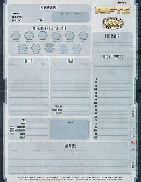 Savage Rifts® Form-Fillable Character Sheet | Pinnacle ...