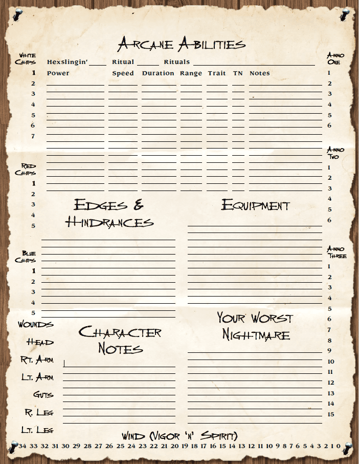 Deadlands Classic Form-Fillable Character Sheet (PDF