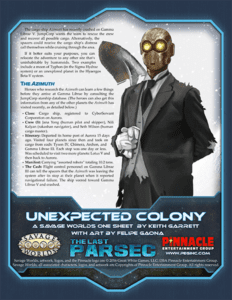 Unexpected Colony, a One Sheet Adventure for The Last Parsec