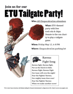 ChupacabraCon ETU Tailgate Party Flyer