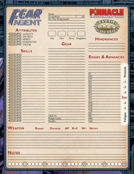 Fear Agent character sheet 900