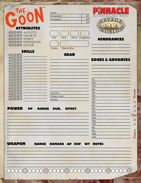 Goon character sheet 900