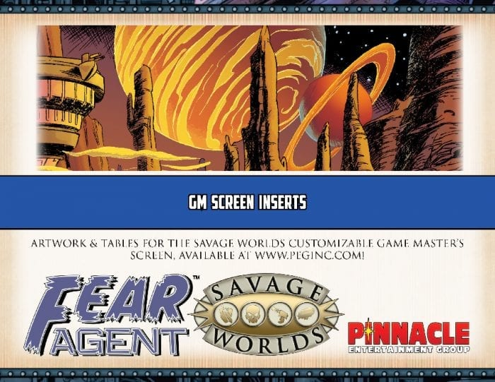 Fear Agent™ RPG GM Screen Inserts (PDF)