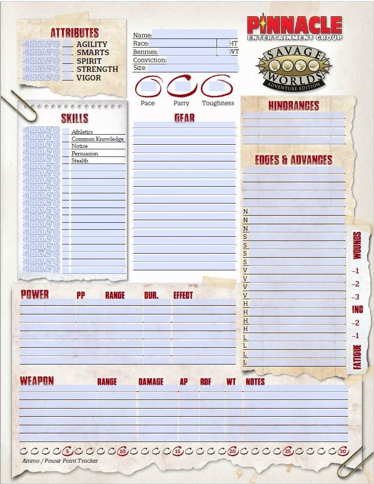image relating to Printable Character Sheet named Savage Worlds Personality Sheets PDF (#SWADE) Pinnacle